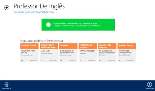 Novo aplicativo do InfoJobs para Windows 8